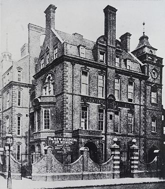 Euston Road - The New Hospital for Women, No. 144 Euston Road around the late 19th century. At the time it was the only hospital to be exclusively staffed by women.