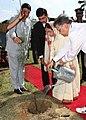 The President, Smt. Pratibha Devisingh Patil planting a 'Casuarina' sapling near the Wandoor Helipad in the Andaman & Nicobar Islands on December 28, 2007.jpg