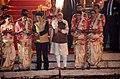 The Prime Minister, Shri Narendra Modi and the Prime Minister of Japan, Mr. Shinzo Abe offering prayers during the Ganga Aarti at Dashashwamedh Ghat, in Varanasi, Uttar Pradesh on December 12, 2015.jpg