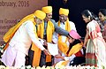The Prime Minister, Shri Narendra Modi felicitating the awardees at the Centenary Year Convocation of the Banaras Hindu University (BHU), in Varanasi on February 22, 2016.jpg
