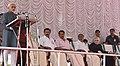 The Vice President, Shri M. Hamid Ansari addressing the gathering after unveiling the statue of Dr. M. Sreenivasan, in Kollam, Kerala.jpg