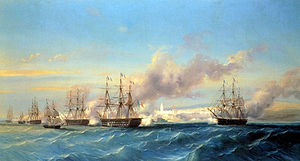 The attack of Mogador by the French fleet Serkis Diranian.jpg