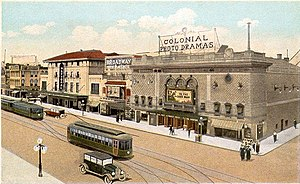 "National Theater (Richmond, Virginia) - Postcard view of ""Theatrical District, Broad Street, Richmond, Virginia"", c. 1923"