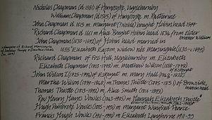 Hugh Pembroke Vowles - Family tree of Thistle family of Whitby, including Hugh Pembroke Vowles, Reverend Thomas Thistle MA of Hereford (1853-1936) and his sister Hannah Elizabeth Thistle (1842-1903), Richard Chapman of Foss Hill, Ugglebarnby, John Chapman of Hobin head, Elizabeth Marsingale (b1630) and Nicholas Chapman (d1551) of Hempsyke, Ugglebarnby.  Yorkshire, England