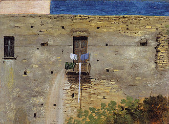 Thomas Jones (artist) - A Wall in Naples (1782). Oil on paper, 11.4 × 16cm. National Gallery, London