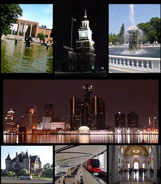 Tourism in metropolitan Detroit - Left to right: Cranbrook Art Museum in Bloomfield Hills, The Henry Ford in Dearborn, the Detroit Zoo in Royal Oak, the International Riverfront, Hecker House in Midtown, Metro Airport, and the Detroit Institute of Arts in Midtown
