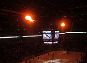 The giant flaming birdheads at Philips Arena, lit when the players are introduced before the game and when the Thrashers score a goal