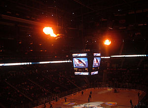 Atlanta Thrashers - The giant fire-breathing birdheads at Philips Arena, lit when the players were introduced before the game and when the Thrashers scored a goal