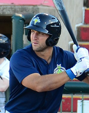 Tim Tebow - Tebow with the Columbia Fireflies in 2017