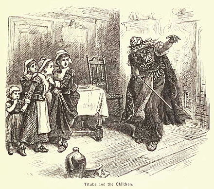 "This 19th-century representation of ""Tituba and the Children"" by Alfred Fredericks, originally appeared in A Popular History of the United States, Vol. 2, by William Cullen Bryant (1878) TitubaandtheChildren-Fredericks.jpg"