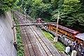 Torokko Arashiyama Station+Sagano Line crossover 2014-08-31.jpg