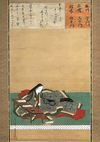 Murasaki Shikibu - A Tosa Mitsuoki illustration of Murasaki writing in solitude, c. late 17th century