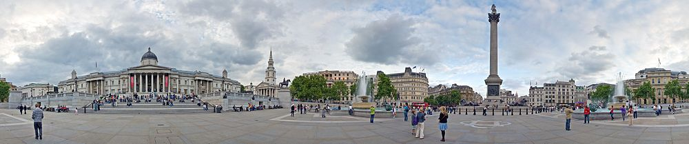 A 360-degree view of Trafalgar Square just over a century later, in 2009