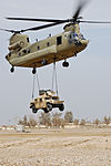 """Training on the """"Flying Crane"""" - 4th Combat Aviation Brigade Soldiers Perfect the Art of Chinook Sling Loads DVIDS158047.jpg"""