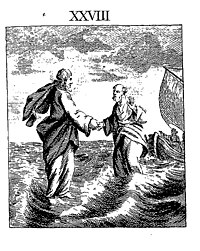 Two men walking on a tempestuous ocean. A boat is in the background.