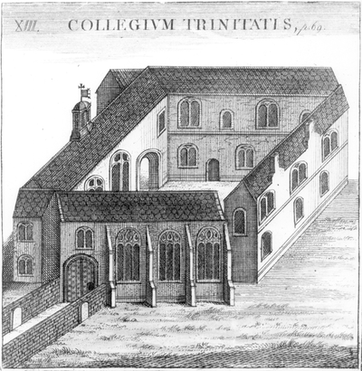 Trinity College in 1566 (looking north), shortly after its foundation Trinity College Oxford, 1566.png