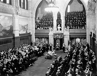 Governor General of Canada - The Lord Tweedsmuir gives the Throne Speech at the opening of the third session of the 18th Canadian Parliament, 27 January 1938