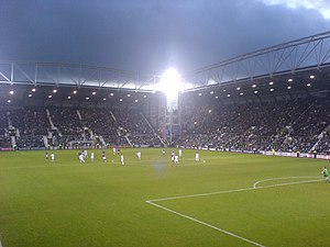 Tynecastle Park - The Gorgie and Wheatfield stands at dusk