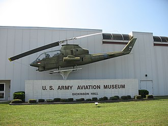 United States Army Aviation Museum - An AH-1S Cobra helicopter in front of the museum