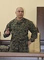 U.S. Marine Corps Sgt. Maj. Nicholas Deabreu, the battalion sergeant major of Black Sea Rotational Force 13, explains the oath of a drill instructor during a noncommissioned officer seminar with Georgian 130320-M-ZP546-008.jpg