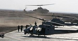 HMLA-167 - HMLA-167 AH-1Ws and an UH-1N at Al Asad, Iraq, in 2008.