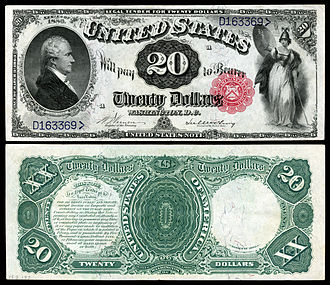 United States twenty-dollar bill - 1880 $20 Legal Tender depicting Alexander Hamilton