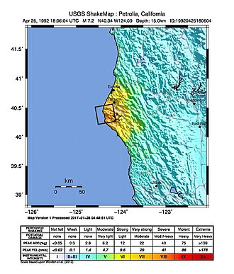 1992 Cape Mendocino earthquakes - Image: USGS Shakemap 1992 Cape Mendocino earthquake