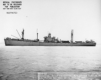 USS Cassiopeia (AK-75) - Broadside view of USS Cassiopeia (AK-75) off San Francisco, 19 December 1942.