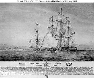 Sinking of HMS Peacock - USS Hornet captures HMS Peacock, February 1813