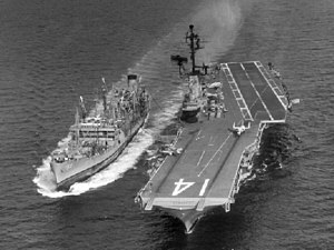 USS Manatee (AO-58) refueling USS Ticonderoga (CVA-14) on 15 July 1965