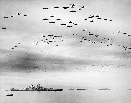US Navy carrier aircraft flying over the Allied fleet in Tokyo Bay following the Japanese surrender on 2 September 1945 Missouri-flyover.jpg