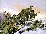 US 65th Infantry Regiment.Painting.Korean War.Bayonet charge against Chinese division