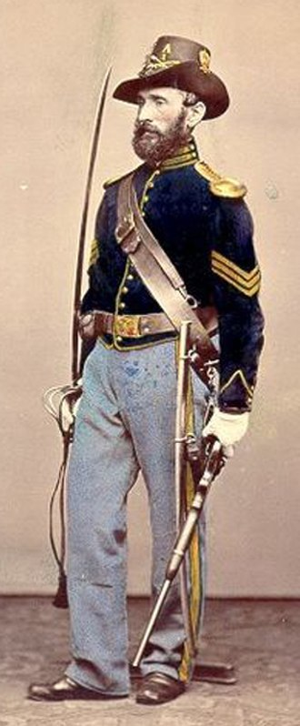 "Uniform of the Union Army - 1866 picture of Model showing correct uniform of a Company ""A"" 1st US Cavalry Sgt wearing Hardee hat"
