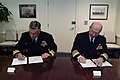 US Navy 040226-N-2383B-137 Adm. Vern Clark, Chief of Naval Operations (CNO), seated right, and Vice Adm. Chris Ritchie, Chief of Navy, Royal Australian Navy, sign a statement of principles.jpg