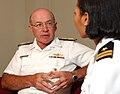 US Navy 040803-N-5862D-070 Chief of Naval Operations, Adm. Vern Clark is interviewed by Public Affairs Officer Lt. Karen Eifert.jpg