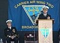 US Navy 060224-N-6060O-142 Assist Deputy of Naval Operations for Information, Plans and Strategy Rear Adm. William D. Crowder, speaks during Carrier Air Wing Two's (CVW-2) change of command ceremony on board Naval Air Sta.jpg