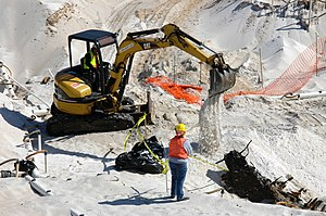 Heavy equipment operator - Image: US Navy 060324 5328N N 324 Using a mini excavator, a heavy equipment operator with the Pittsburgh, Pa. based, Dick Corp. carefully covers the remains of a wrecked wooden ship aboard Naval Air Station Pensacola