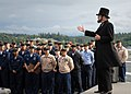 US Navy 070604-N-7981E-113 Dr. Gene Griessman delivers the Gettysburg Address while portraying Abraham Lincoln before members of the crew on the flight deck of the Nimitz-class aircraft carrier USS Abraham Lincoln (CVN 72).jpg