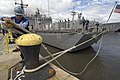 US Navy 080627-N-6430R-143 Seaman Cesar Sandoval, a native of Houston, Texas, ties a mooring line for the guided-missile frigate USS Rodney Davis (FFG 60) at Naval Station Pearl Harbor.jpg