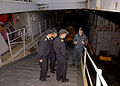 US Navy 090630-N-0924R-002 Lt. j.g. Scott Cheney-Peters, weapons officer aboard the amphibious dock landing ship USS Oak Hill (LSD 51), conducts a tour of the well deck for Navy of the Argentine Republic officers.jpg