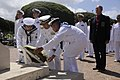 US Navy 100609-N-7498L-193 Japan Maritime Self-Defense Force Rear Adm. Tomohisa Takei lays a wreath at the National Memorial Cemetery of the Pacific at the Puowaina Crater.jpg