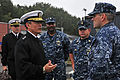 US Navy 110830-N-IZ292-009 Vice Adm. Harry B. Harris Jr., commander of U.S. 6th Fleet, meets with Cmdr. Tom Winter, right, commanding officer of th.jpg