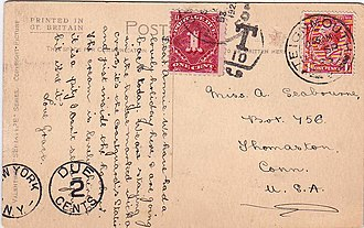 Postage due - US postage due on UK cover.