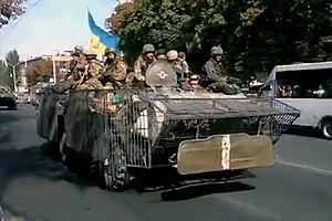 Offensive on Mariupol (September 2014) - Ukrainian troops on patrol in Mariupol, 5 September 2014