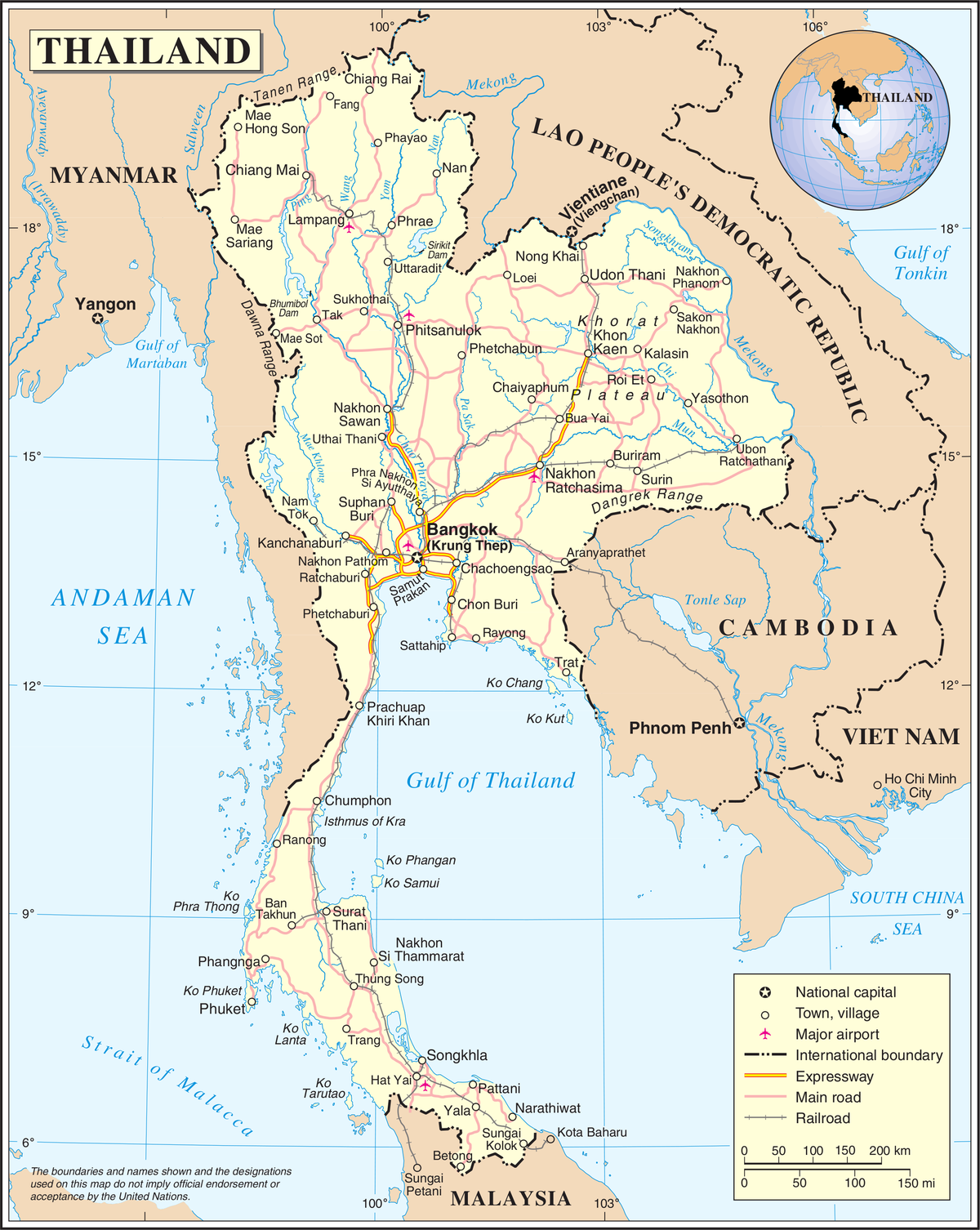 List Of Airports In Thailand Wikipedia - Thailand blank map