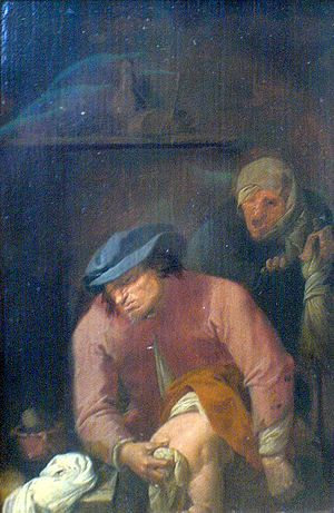 Diaper - Unpleasant duties (1631) by Adriaen Brouwer, depicting the changing of a diaper.