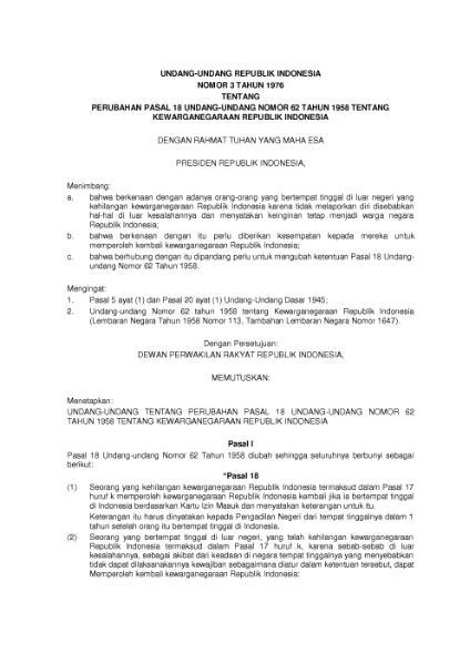 File:Undang-Undang Republik Indonesia Nomor 3 Tahun 1976.djvu
