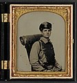 Unidentified soldier in Confederate uniform of the 11th Virginia regiment with knapsack and bedroll LCCN2011645302.jpg
