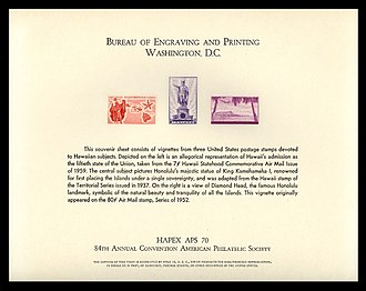 Bureau of Engraving and Printing - United States Souvenir Card issued by the Bureau of Engraving and Printing, for the HAPEX APS 70 exhibition and 84th Annual Convention of the American Philatelic Society in 1970