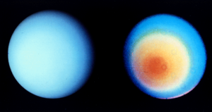"Climate of Uranus - Uranus's southern hemisphere in approximate natural colour (left) and in higher wavelengths (right), showing its faint cloud bands and atmospheric ""hood"" as seen by Voyager 2"